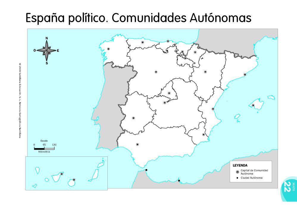 Mapa De Comunidades Autonomas De España Mudo.Mapas De Espana Fisicos Politicos Y Mudos Mapa De Espana
