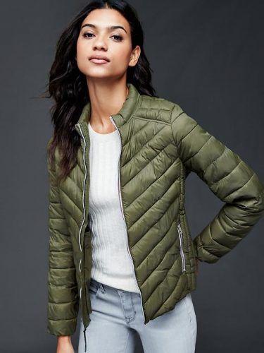 Gap Women Coldcontrol Lite Puffer Jacket Size Tall – Army jacket green c9f0f5da9bc3