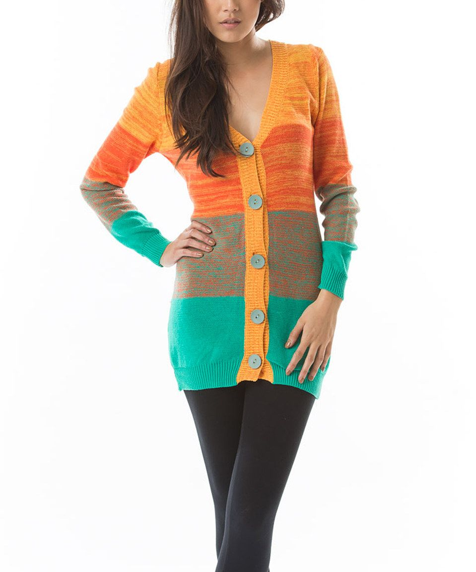 2683f23f0 Another great find on  zulily! Aziza Orange   Teal V-Neck Cardigan ...