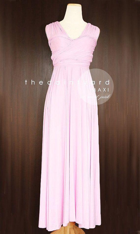 MAXI Sweet Pink Bridesmaid Convertible Dress Infinity Multiway Wrap ...