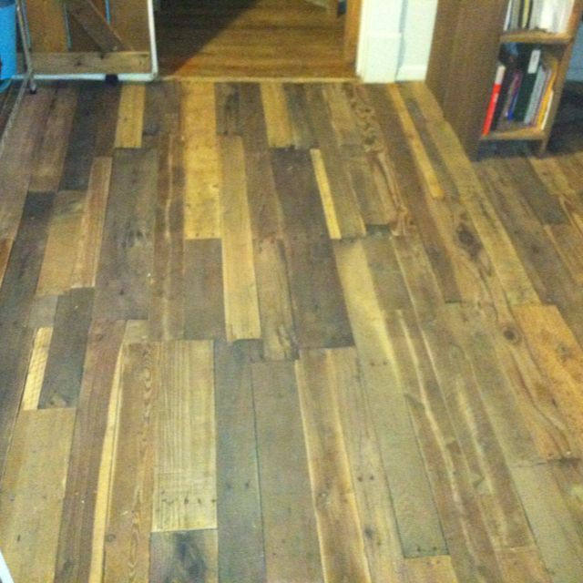 My Pallet Floor I Finished. Also Used The Recipe On Pinterest For The  Weathered Wood