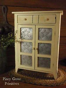 Primitive Inspired Wood Salesman Sample Sized Pie Safe Cabinet Punched Tin Doors Pie Safe Vintage Cupboard Primitive Furniture