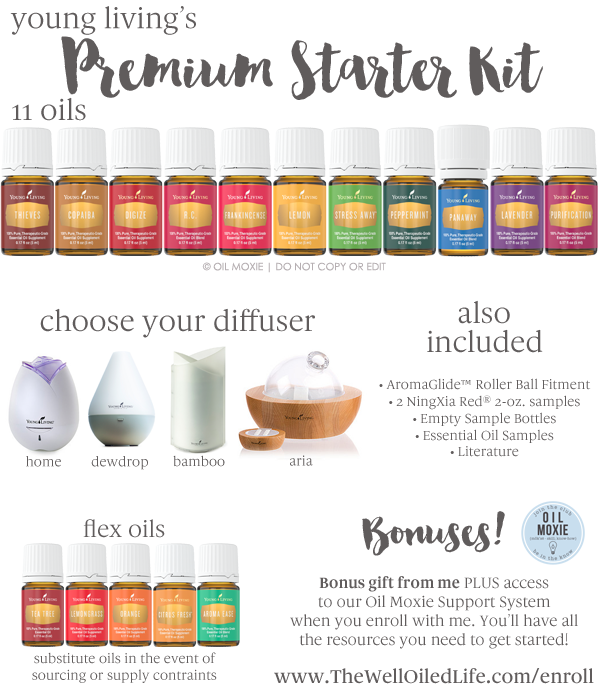 The Premium Starter Kit is the best way to get started using essential oils. 11 oils, a diffuser, BONUS gift, and support when you enroll at www.thewelloiledlife.com/enroll