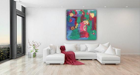 Large Colorful Wall Art Original Art Mixed Media Art Home Decor Interior Art Happy Art Large P Colorful Wall Art Home Decor Happy Art