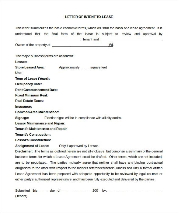 simple letter intent free word pdf documents download construction