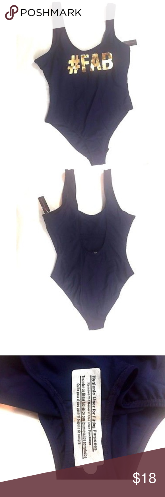574c177ce25 #FAB Navy Gold One Piece Swimsuit Large 11-13 NEW NWT Juniors No Boundaries  Navy #FAB Swimsuit Bathing Suit 1 piece Large 11/13 Swim One Pieces