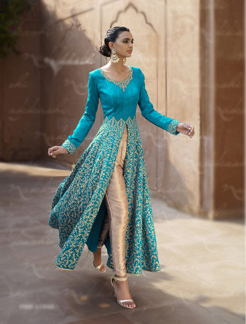 Blue Bhagalpuri Designer Anarkali Suit 67963 | Cultural | Pinterest ...