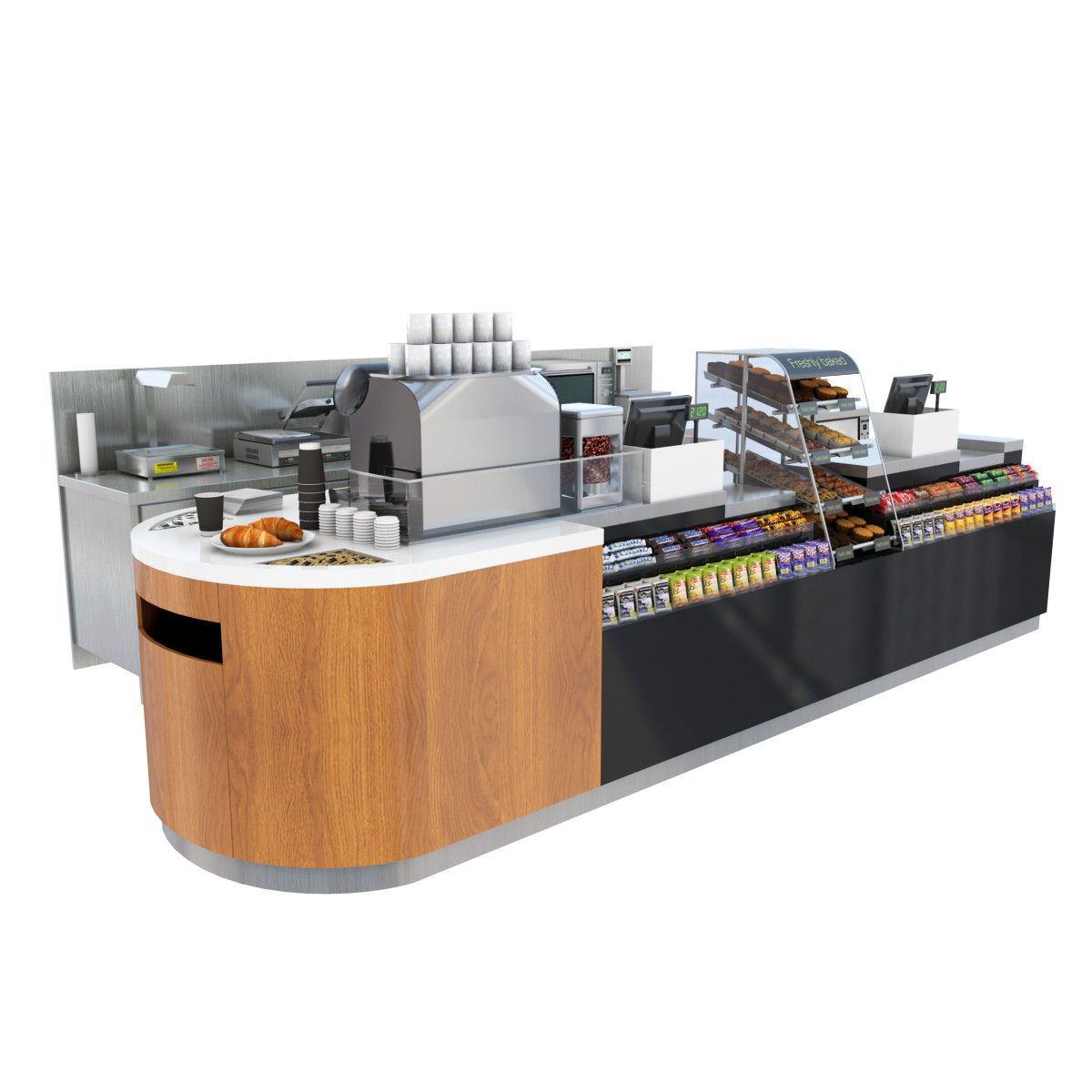 3D Model Cafe Shop Counter 3D Model