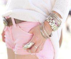 Pink shorts! i would def rock these. i want yellow too!