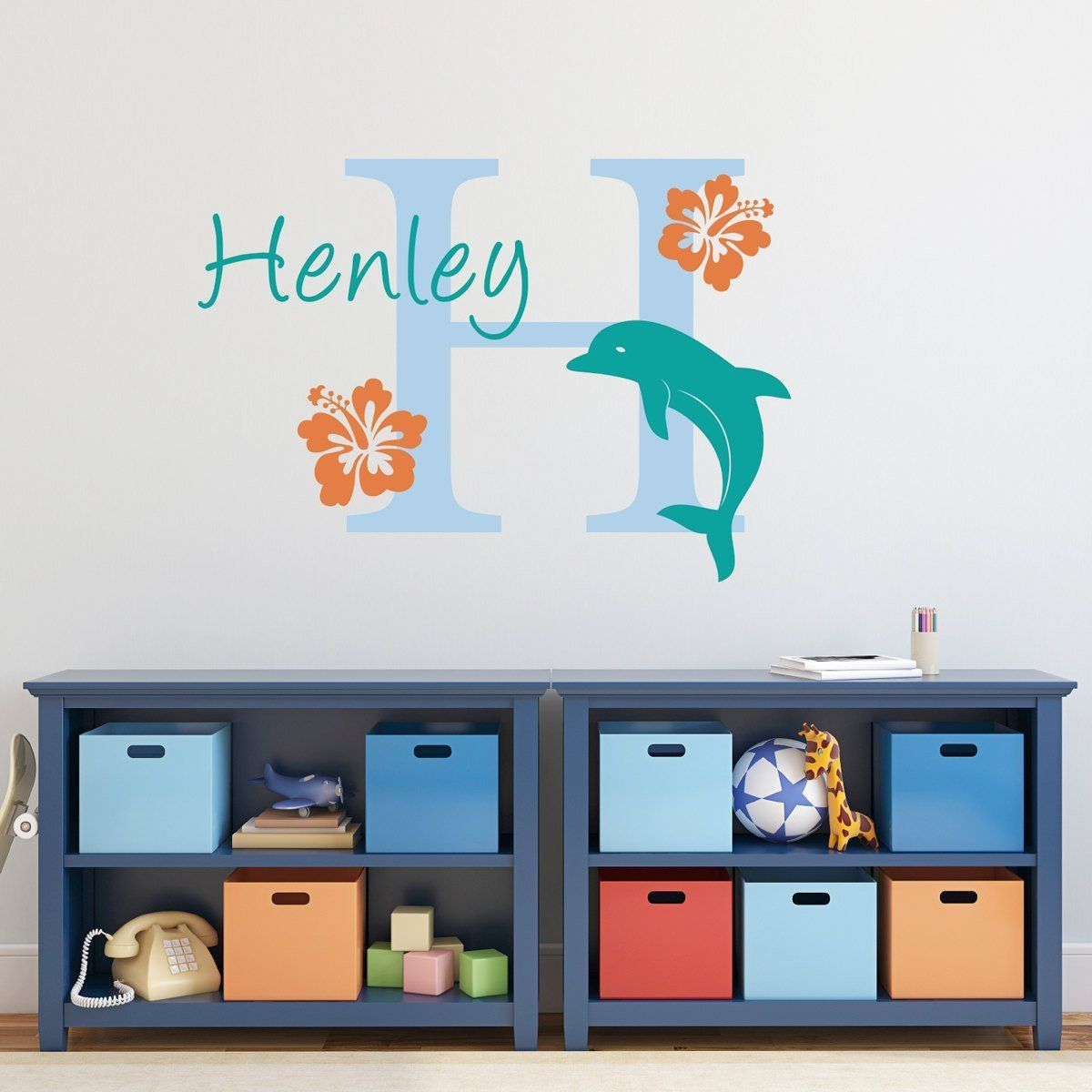 Dolphin wall decal with initial name and hibiscus flowers dolphin wall decal with initial name and hibiscus flowers dolphin wall decal personalized amipublicfo Image collections