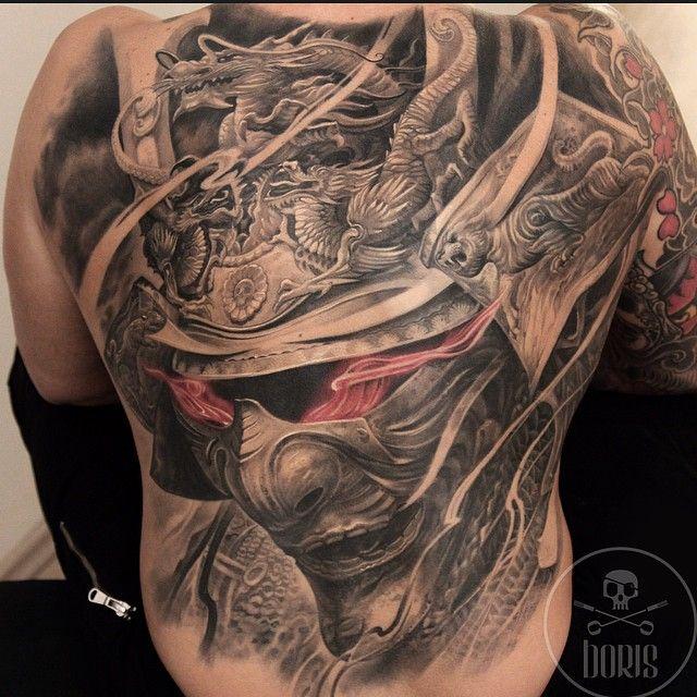 Black Grey And Red Japanese Warlord Tattoo Piece By Boris Intenze Ink Capacete Samurai Tatoo Tatuagem Nas Costas