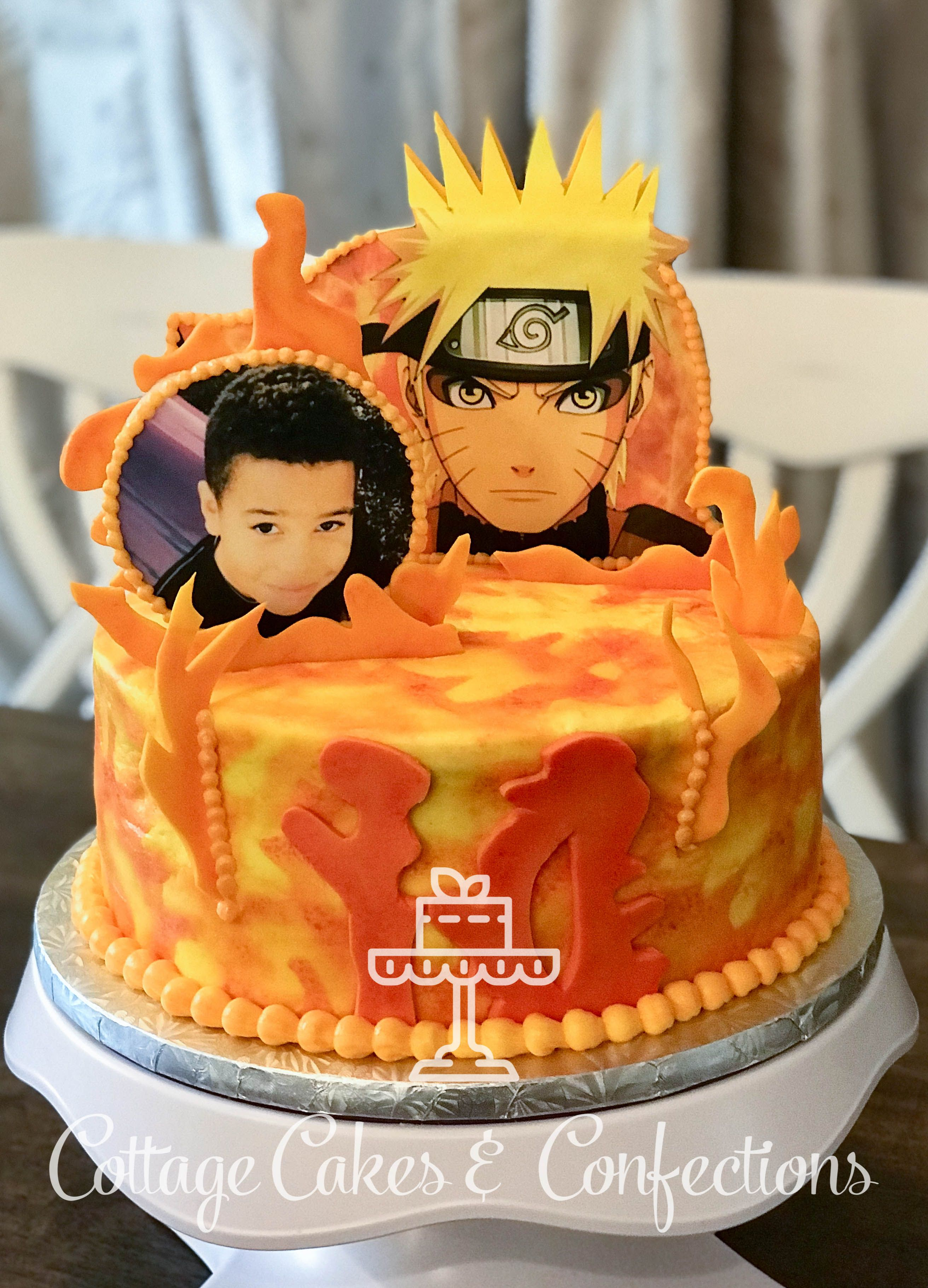 Anime Naruto Birthday Cake with Cookie Toppers! Cake