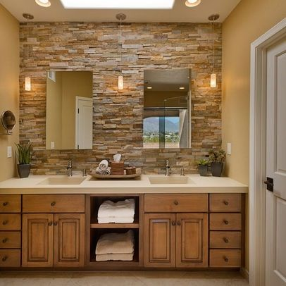 stacked stone backsplash to replace the mirrored wall in the master rh pinterest com Teal Bathroom Glass Tile Stone Backsplash Bathroom Lodge