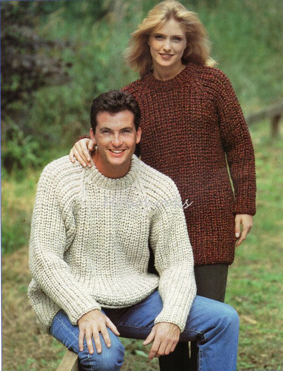 a9208612c Womens Mens knitting pattern fishermans rib sweater chunky sweater crew  neck…