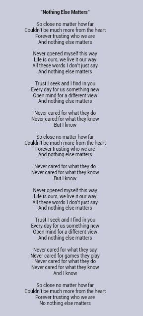 metallica nothing else matters lyrics could i do