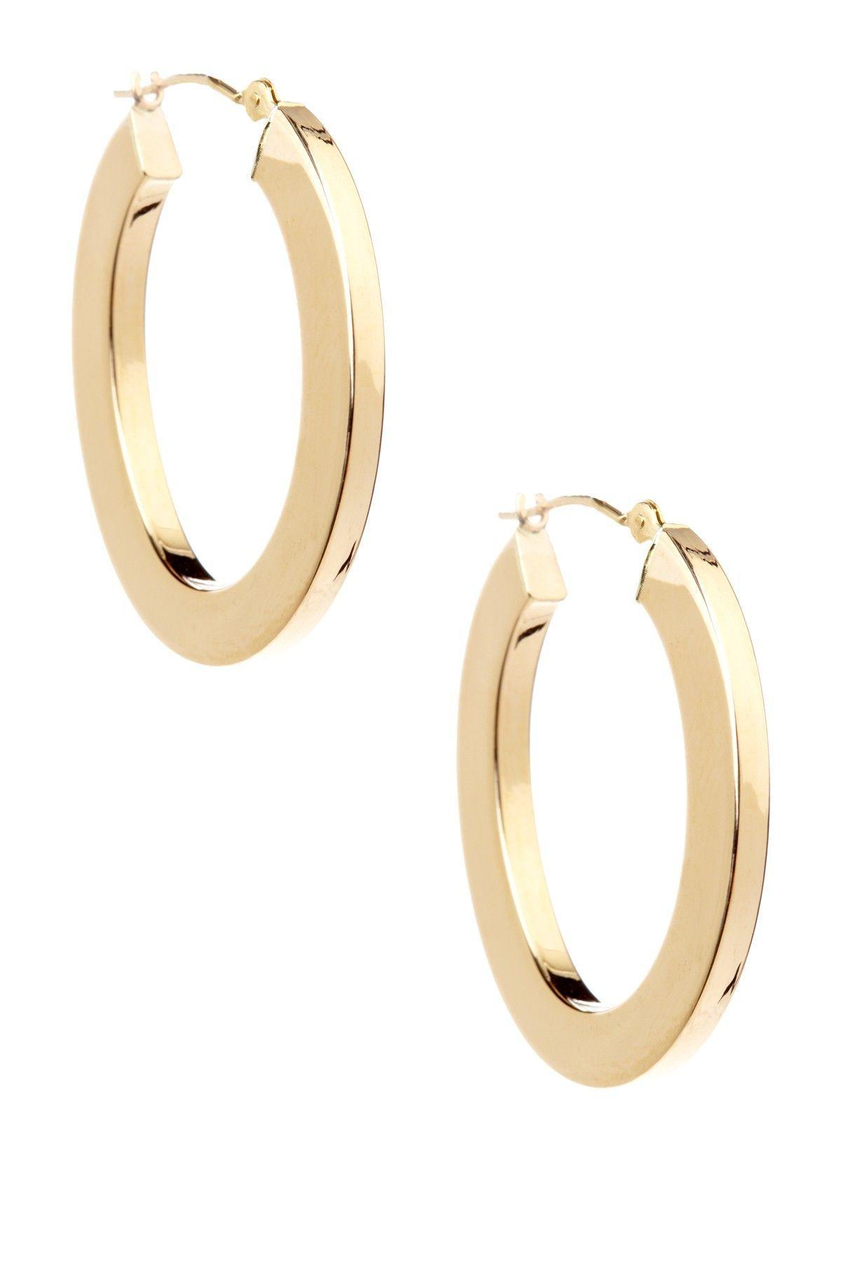 14k Yellow Gold Flat Oval Hoop Earrings Diamond