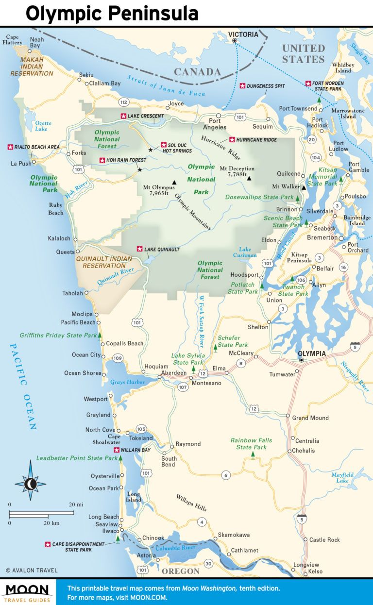 Travel map of the Olympic Peninsula and the Coast in 2019 ...