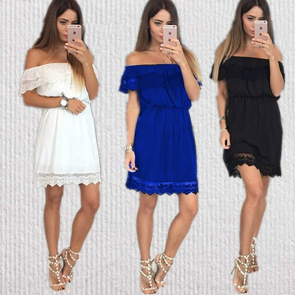 Women summer dresses new off shoulder dress solid lace bodycon