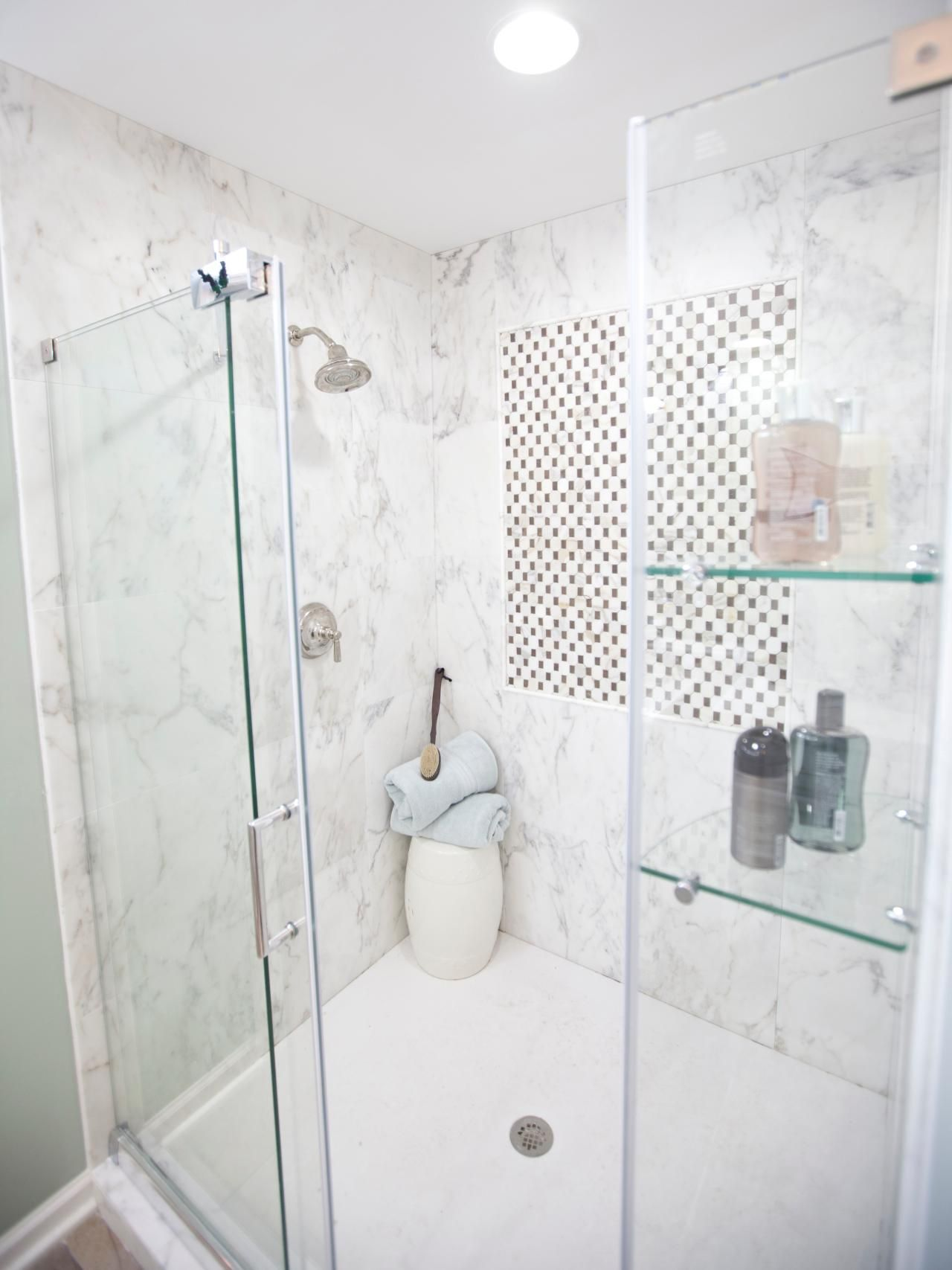 6 Bathroom Shower Tile Ideas | Marble wall, Clean shower and White tiles
