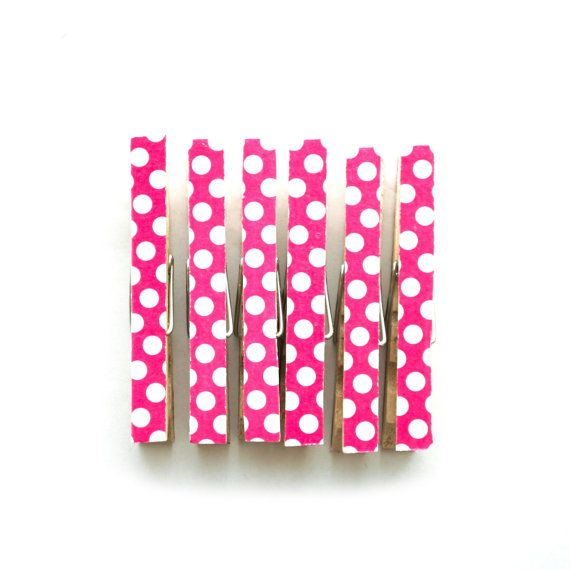 Pink  White Polka Dot Clothespins