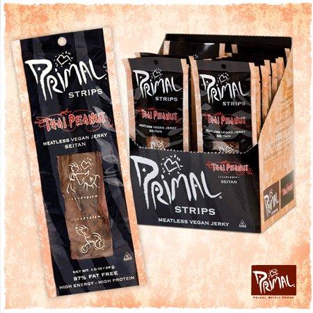 Primal Strips Thai Peanut Meatless Vegan Jerky 1 Oz 24 Count Vegan Jerky Vegan Vegan Budget