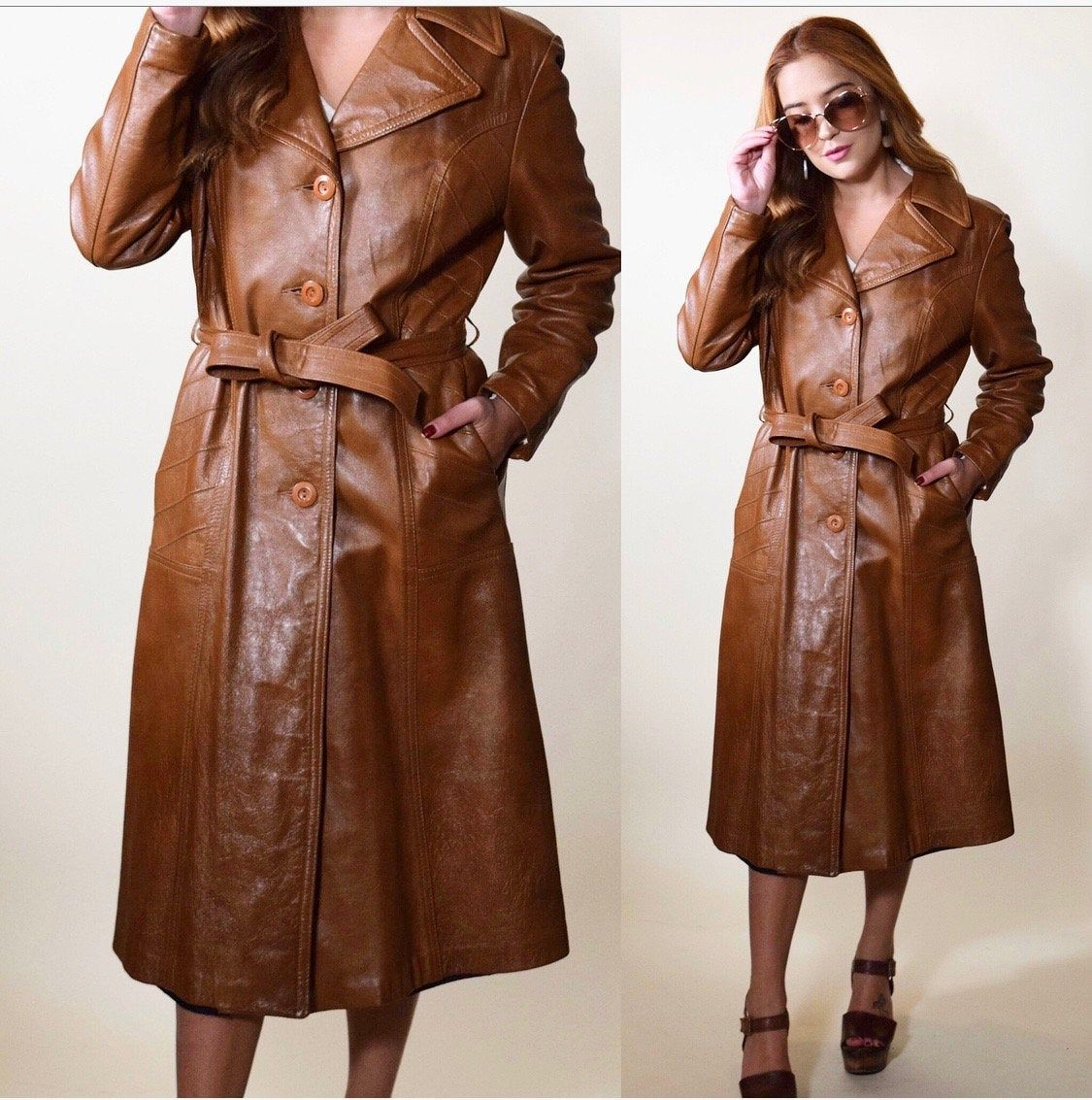 1970s brown leather long button down trench coat with
