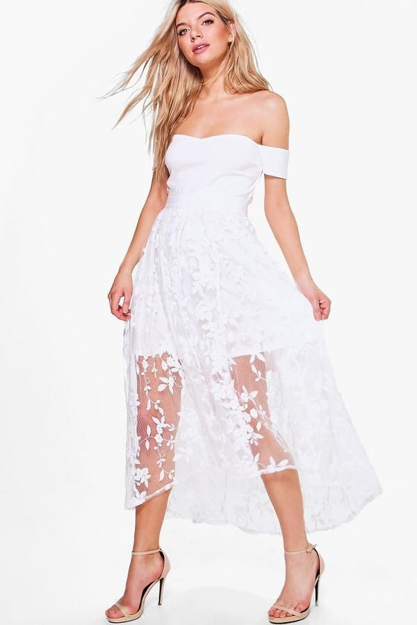 0fe502b266d2 Boutique Embroidered Midi Skater Dress | Products | Pinterest | Midi ...