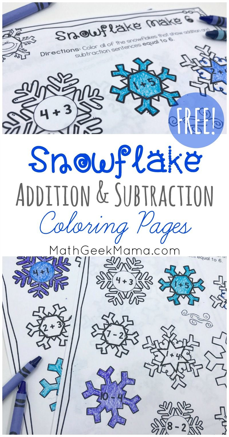 Simple Winter Addition and Subtraction Facts to 10 {FREE} Want a cute and fun way to practice addition and subtraction facts to 10? These snowflake coloring pages are a great introduction to a discussion of patterns, composing and decomposing numbers and more. Get them FREE!
