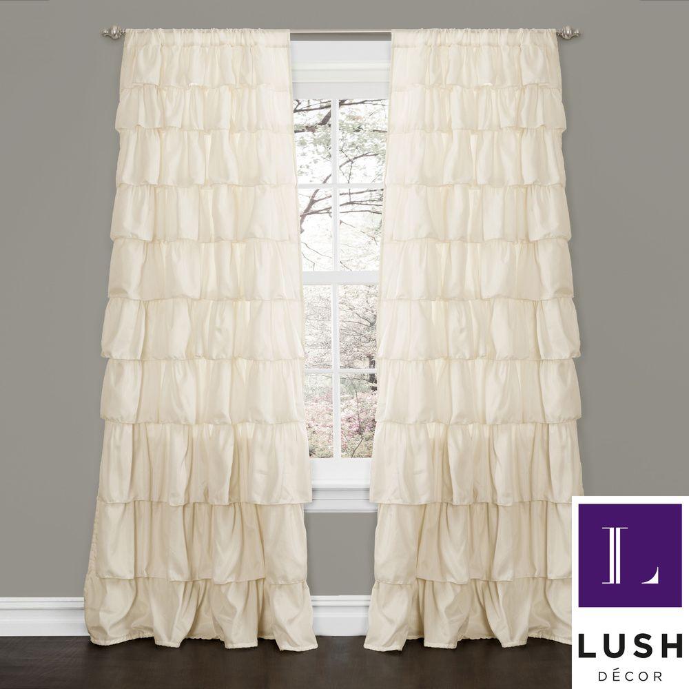 Lush decor ivory inch ruffle curtain panel ivory beige off