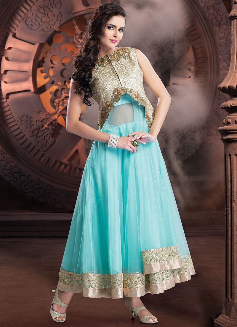 Blue Net Ankle Length #Anarkali