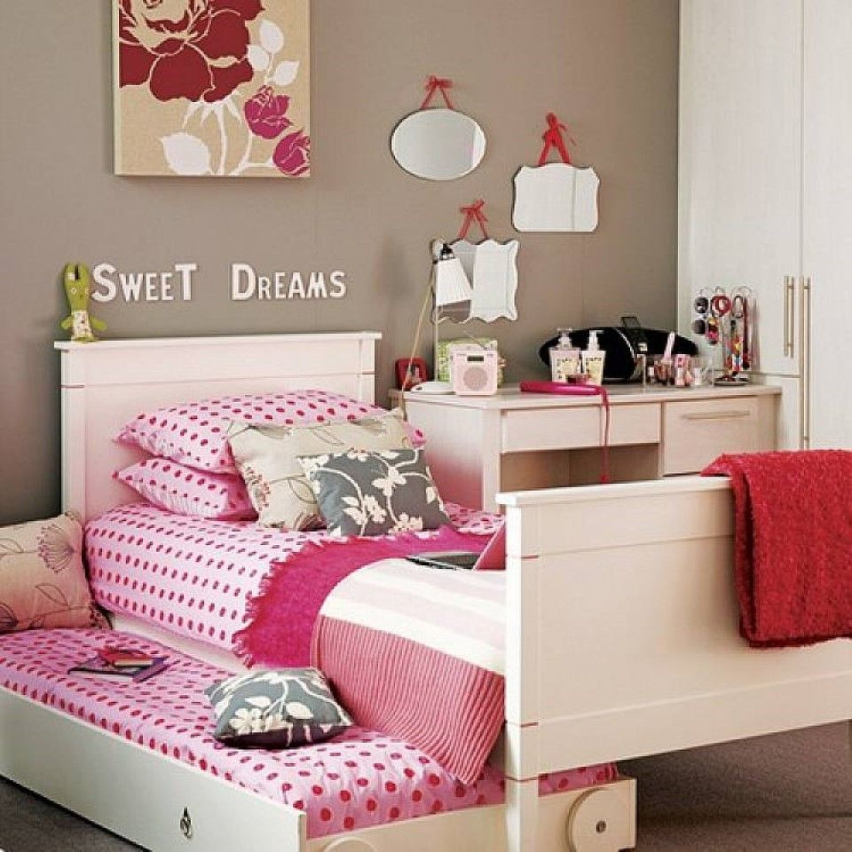 Trundle bed for teenagers - Teen Girl Room Featured Cool White Trundle Bed Frame Design Plus Sweet Wall Decorating Charming Outlook