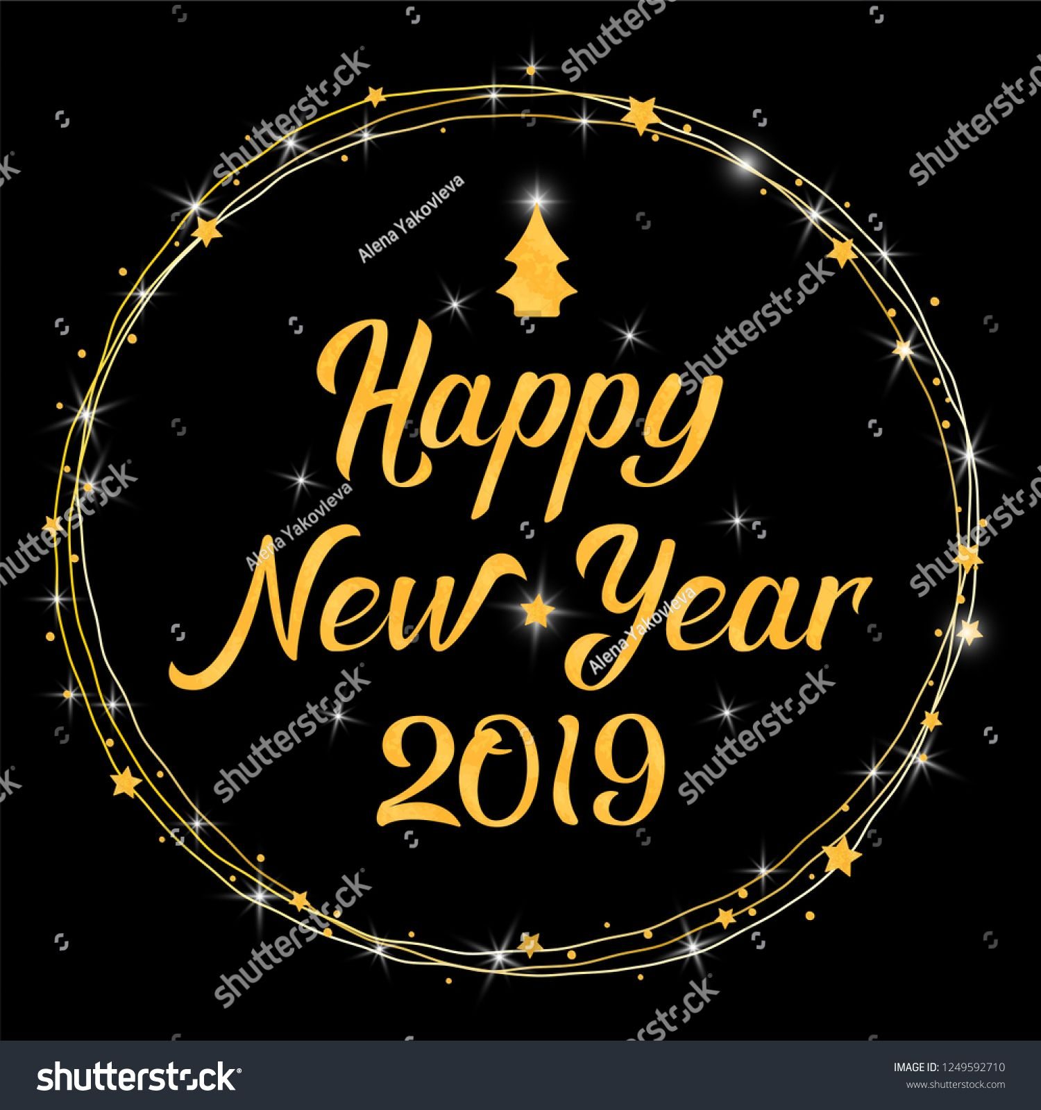 Happy New Year 2019 gold and black hand lettering template