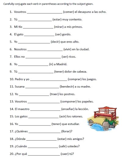 free spanish verb conjugation sentences worksheets packet on ...