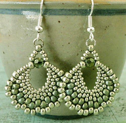 "PEYOTE FAN EARRINGS   15/0 seed beads Miyuki ""Brown Bronze Matte"" (457P)  11/0 seed beads Miyuki ""Brown Bronze Matte"" (457P)  8/0 seed..."