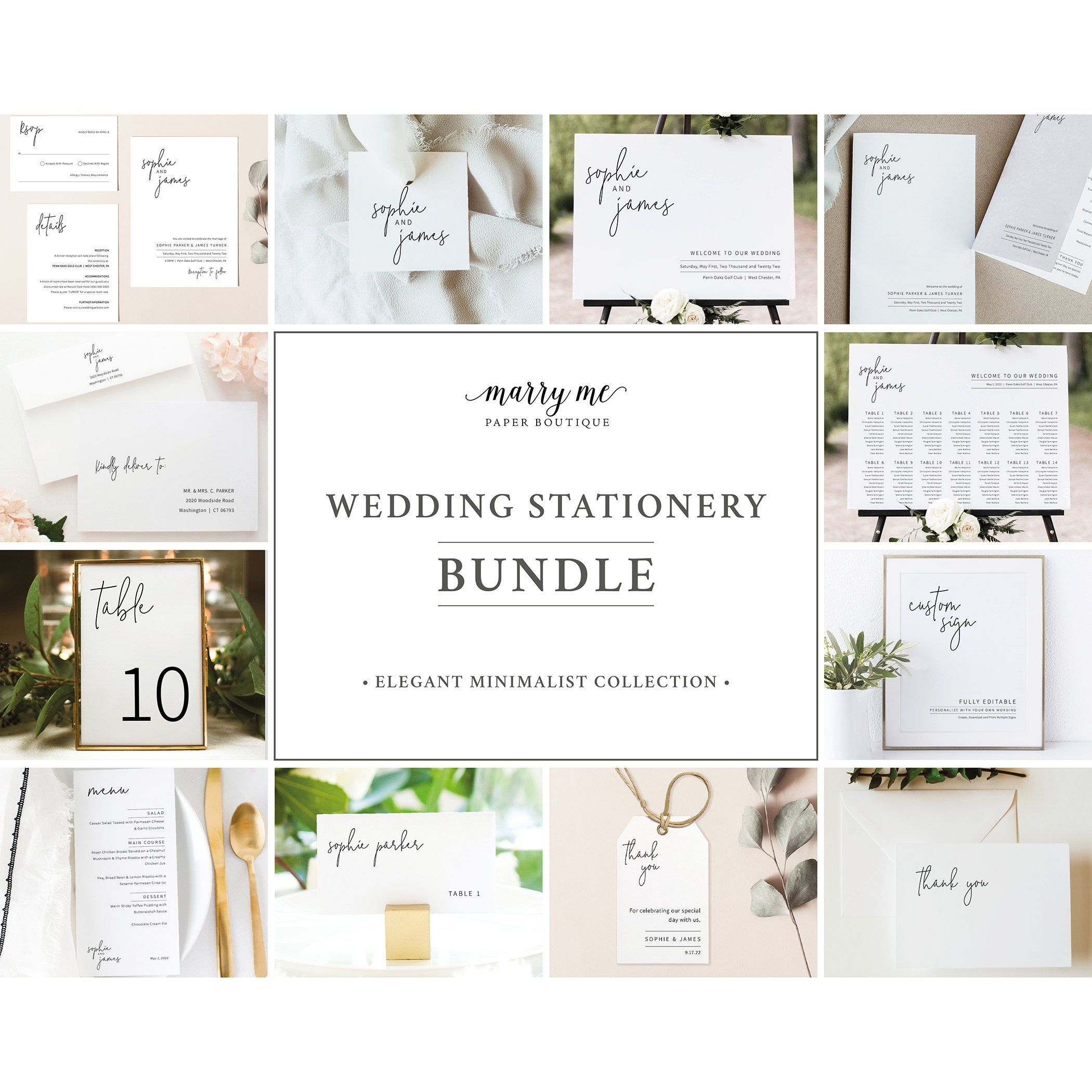 Wedding Bundle Templates Elegant Minimalist Wedding  Etsy in 3