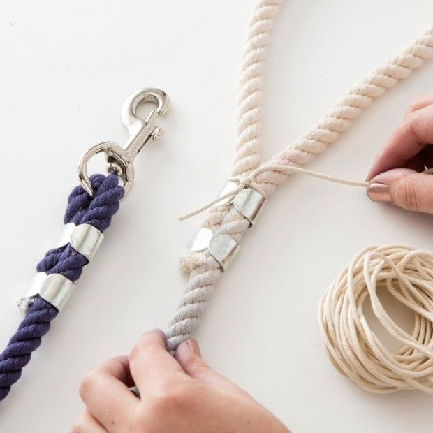 DIY Dip Dyed Rope Leash -   21 diy dog leash
