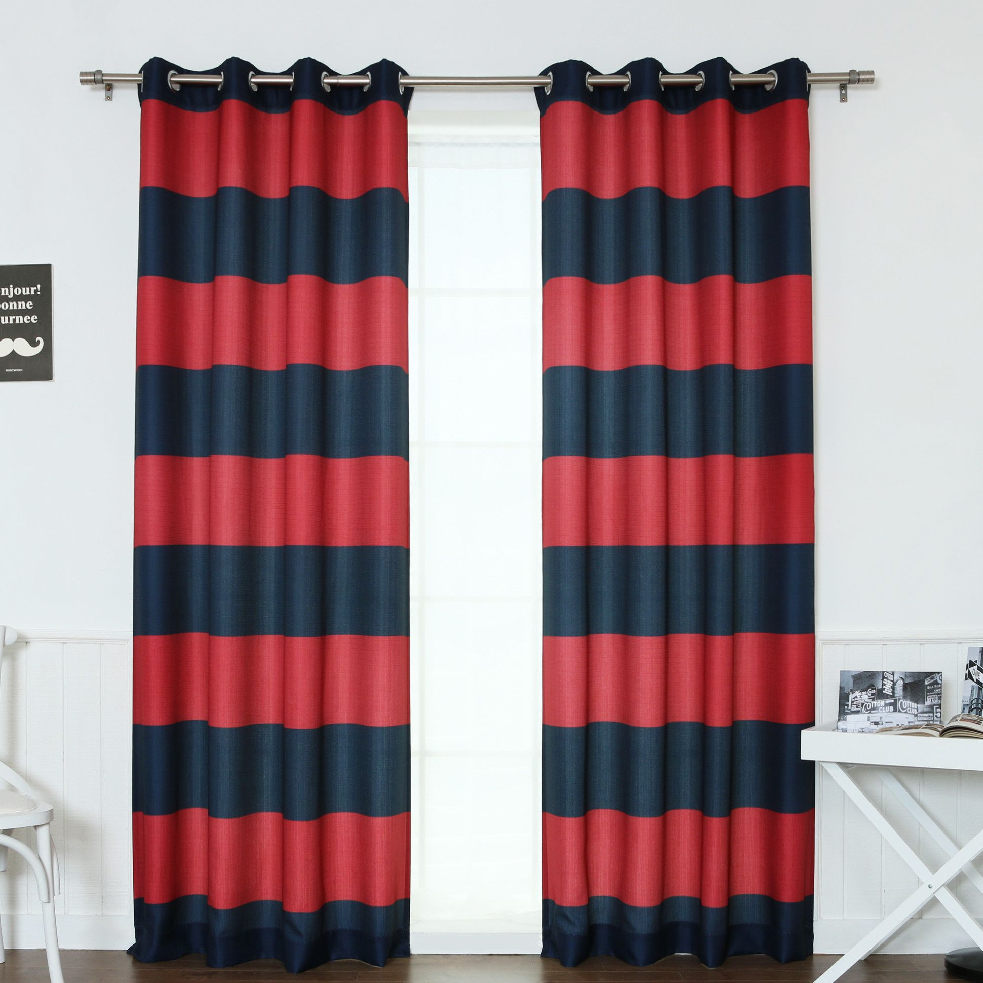 Rugby Stripe Curtain Panels Panel Curtains Striped Room House Styles