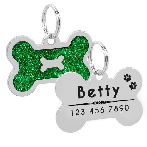 Glitter Personalized Dog Id Tag Customized Bone Shape Name Tag Plate Pet Dog Dog Id Dog Id Tags Dog Person
