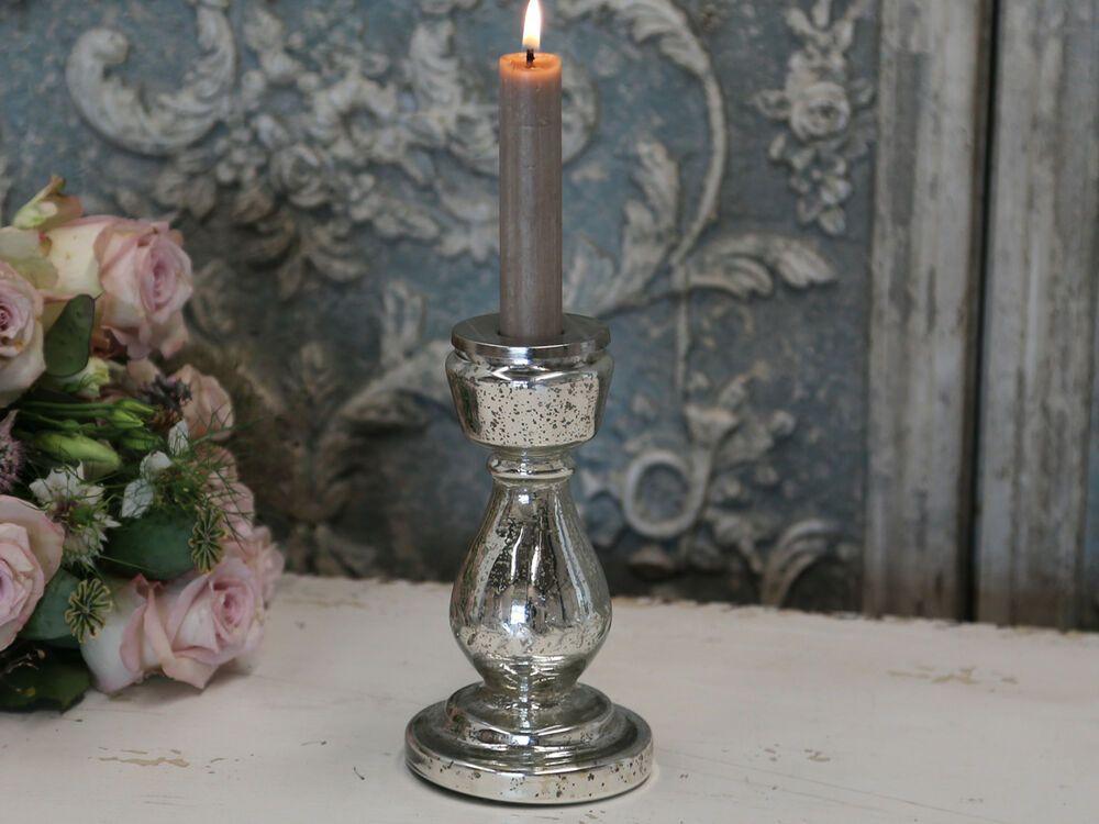 Kerzenhalter glas silber kerzenständer chic antique shabby vintage