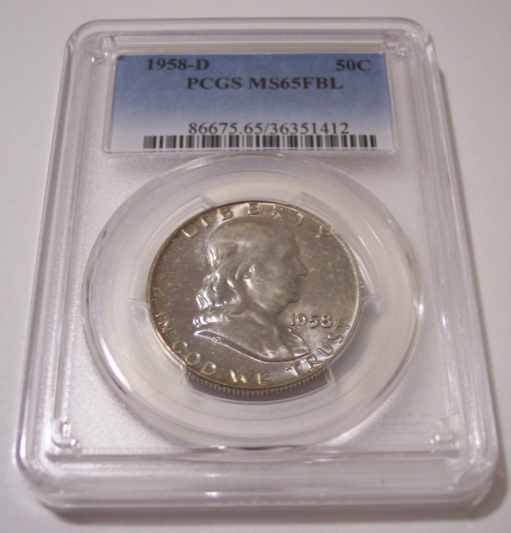 1961 D Franklin Silver Half Dollar PCGS MS65