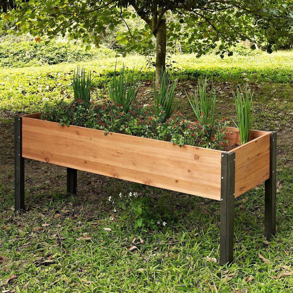 Jardinière En Bois En Hauteur elevated outdoor raised garden bed planter box - 70 x 24 x