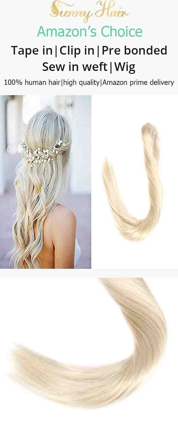 Vesunny Human Hair Clip In Extensions Blonde Color 60 Platinum