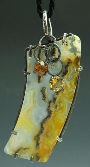 Montana agate with citrines and sterling silver by Stasia Merritt by lupe