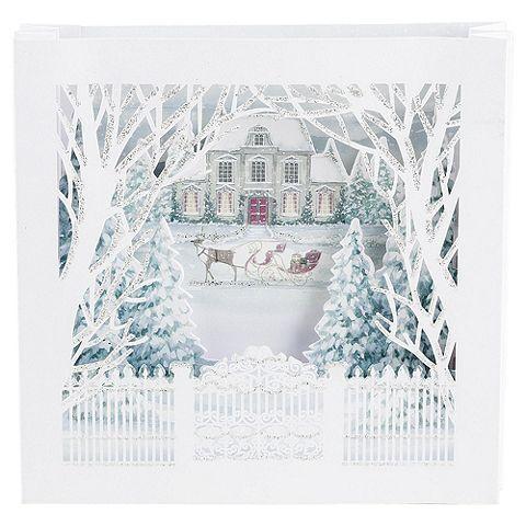 Glitter Christmas Cards.Tesco Direct 3d Woodland Village Luxury Christmas Cards 6