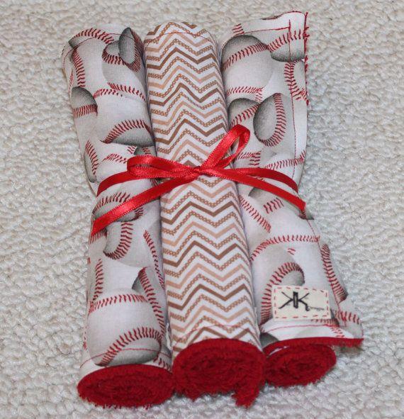 Custom Baseball Burp Cloths by KenKierDesigns on Etsy, $15.00