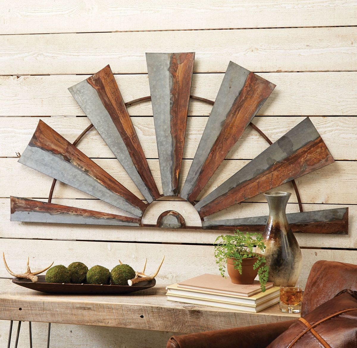 Large Metal Half Windmill Wall Hanging Western Decor Windmill Wall Decor Windmill Decor