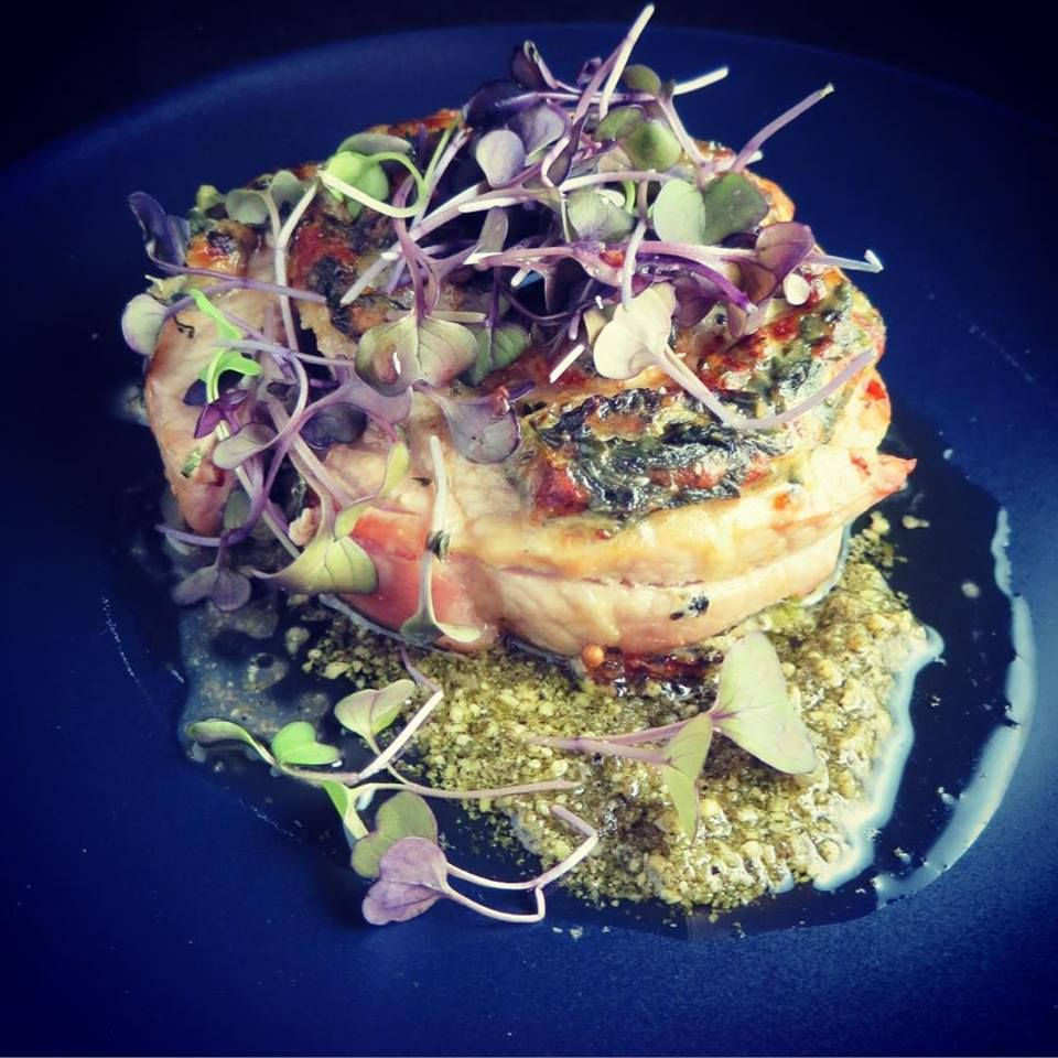 #pork #stuffed with #daikon #radish #goat #cheese #spinach & #pesto