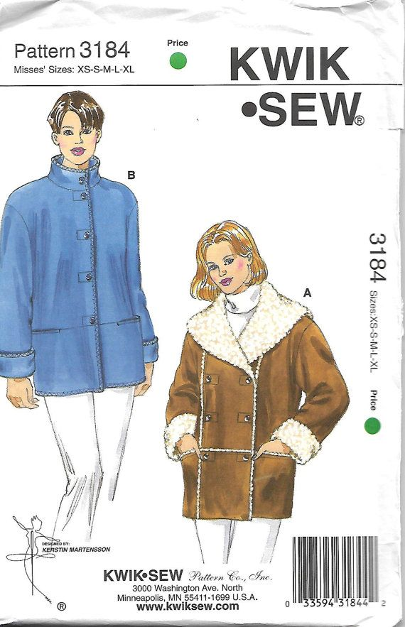 Kwik Sew 3184 Misses jacket Pattern, XS-XL,  UNCUT