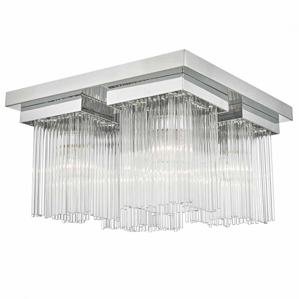 The Lighting Book ODETTE 4 Light Flush Chrome And Glass Rod Ceiling