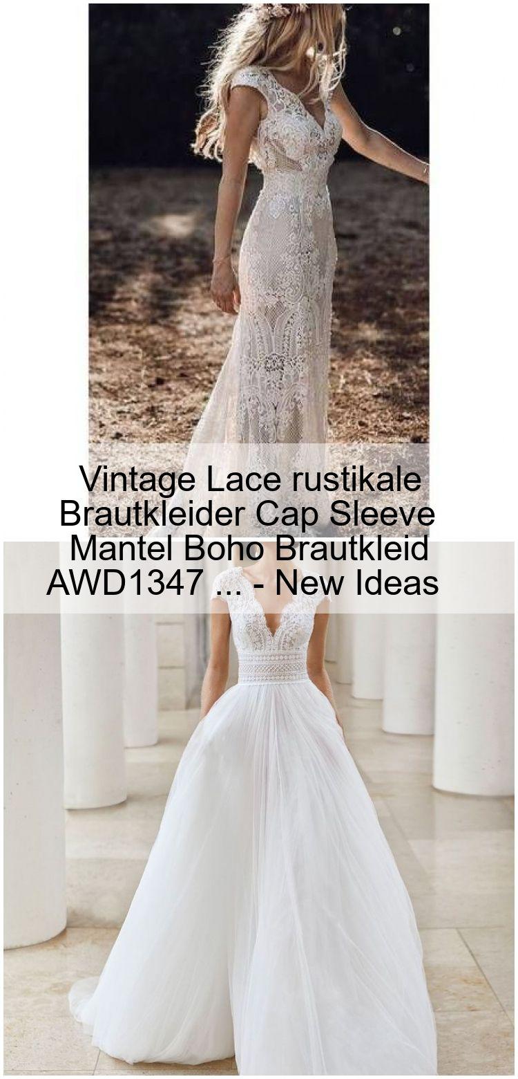 Vintage Lace rustikale Brautkleider Cap Sleeve Mantel Boho